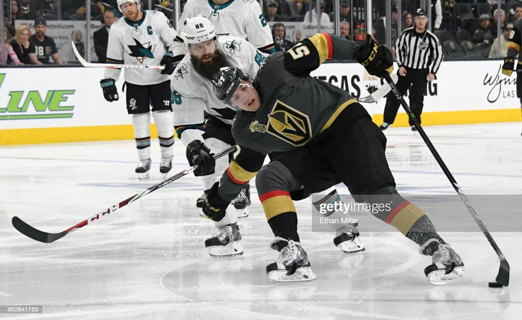 David Perron #57 of the Vegas Golden Knights skates with the puck against Brent Burns #88 of the San Jose Sharks in the first overtime period of Game Two of the Western Conference Second Round during the 2018 NHL Stanley Cup Playoffs at T-Mobile Arena on April 28, 2018 in Las Vegas, Nevada. The Sharks won 4-3 in double overtime.