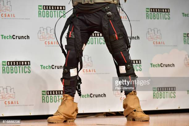 David Perry of Harvard Labs gives an Exosuits demonstration with Jordan Crook at the TechCrunch Sessions Robotics at Kresge Auditorium on July 17...