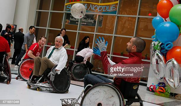 David Peterson participates with the athletes Launch event held at the CBC on Front St for the 100 days to ParaPan with speakers and a demonstration...