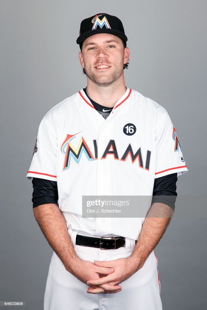 David Phelps #35 of the Miami Marlins poses during Photo Day on Saturday, February 18, 2017 at Roger Dean Stadium in Jupiter, Florida.