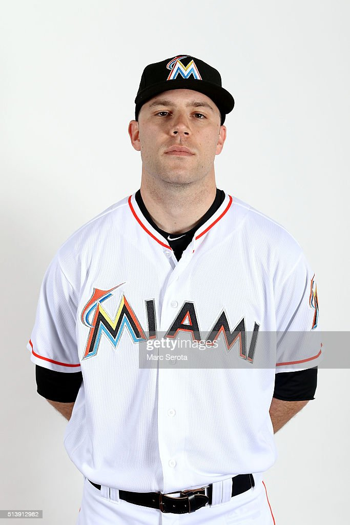 David Phelps of the Miami Marlins poses for photos on media day at Roger Dean Stadium on February 24, 2016 in Jupiter, Florida.