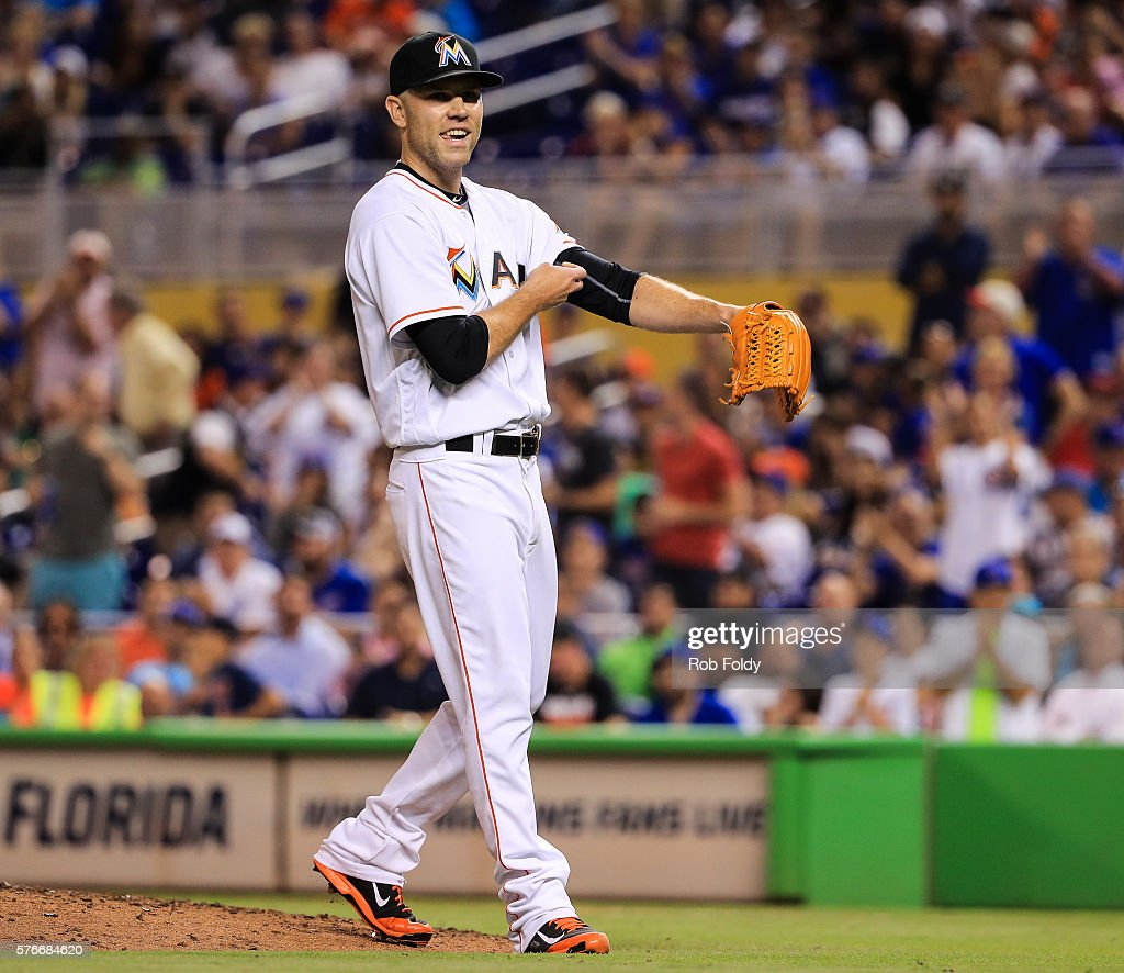 David Phelps #35 of the Miami Marlins smiles during the game against the Chicago Cubs at Marlins Park on June 23, 2016 in Miami, Florida.