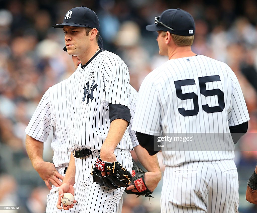 David Phelps #41 of the New York Yankees is pulled from the game against the Boston Red Sox during Opening Day on April 1, 2013 at Yankee Stadium in the Bronx borough of New York City.