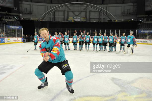 David Phillips of the Belfast Giants dances at centre ice after the Graeme Walton testimonial game against the Belfast Giants. Walton was celebrating...