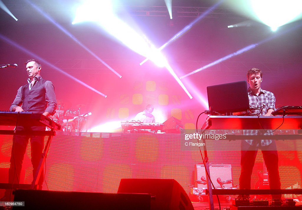 David Phipps, Hunter Brown and Dave Murphy of Sound Tribe Sector 9 (STS9) perform at The Fox Theatre on March 1, 2013 in Oakland, California.
