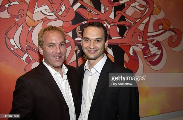 David Pinsky and Jeff Vespa during Motorola Hosts Opening of Hollywood Graffiti First Exhibition from Artist Jeff Vespa to Benefit OPCC at Traction...