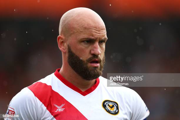 David Pipe of Newport County AFC in action during the Sky Bet League Two match between Barnet FC and Newport County at The Hive on April 21 2018 in...