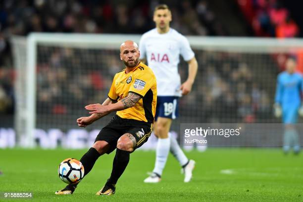 David Pipe of Newport County looks upfield during the FA Cup Fourth Round replay match between Tottenham Hotspur and Newport County at Wembley...
