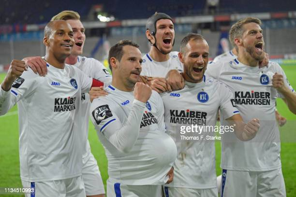 David Pisot Alexander Groiss Anton Fink Damian Rossbach Manuel Stiefler and Marc Lorenz of Karlsruhe celebrate their teams secod goal during the 3...