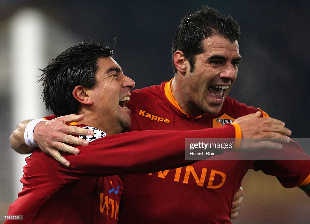 David Pizarro (L) of AS Roma celebrates his goal with team mate Simone Perrotta during the UEFA Champions League first knockout round, first leg match between AS Roma and Real Madrid at the Olympic Stadium February 19, 2008 in Rome, Italy.