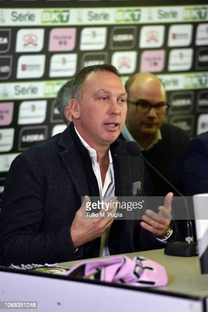 David Platt answers questions during a press conference at Stadio Renzo Barbera on December 4, 2018 in Palermo, Italy.
