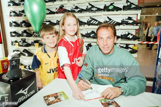 David Platt Arsenal Football Player opens Just Trainers shop in Reading 7th April 1997