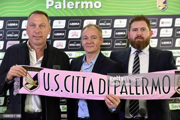 David Platt, Clive Richardson and Sheehan James pose during a press conference at Stadio Renzo Barbera on December 4, 2018 in Palermo, Italy.