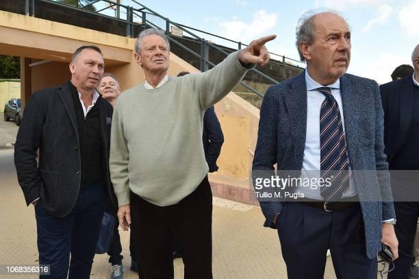 David Platt, Clive Richardson, Maurizio Zamparini, and Rino Foschi look on at Tenente Carmelo Onorato Sports Center on December 4, 2018 in Palermo,...