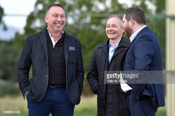 David Platt, Global Futures Sports CEO Clive Richardson and Sheehan James look on at Tenente Carmelo Onorato Sports Center on December 4, 2018 in...