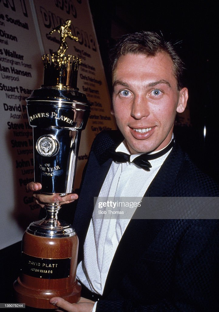 David Platt With His Player Of The Year Trophy : News Photo