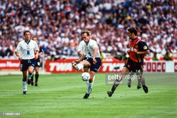David Platt of England and Kiko of Spain during the Quarter Final of European Championship match between Spain and England at Wembley Stadium London...