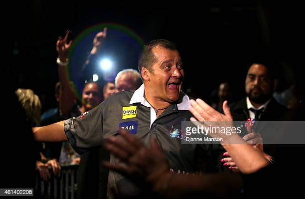 David Platt of of Australia makes his entrance at the Darts King Australasia tournament on January 12, 2015 at ILT Stadium Southland in Invercargill,...