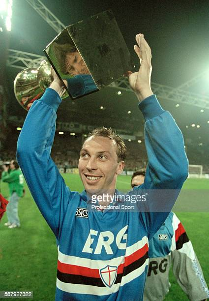 David Platt of Sampdoria celebrates with the trophy after their victory against Ancona in the 2nd leg of the Coppa Italia Final in Genoa, 20th April...