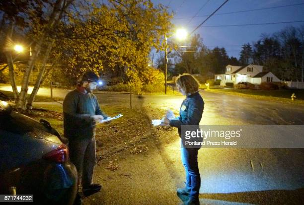 David Plotkin left and Hillary Barter volunteers with Mainers for Health Care looks over their voter lists before canvassing a Westbrook neighborhood...