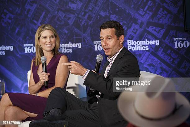 David Plouffe chief advisor of Uber Technologies Inc right speaks as Nicolle Wallace political commentator and former White House communications...