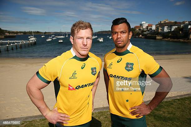David Pocock and Kurtley Beale of the Wallabies pose following an Australian Wallabies training session at Little Manly Beach on August 28 2015 in...