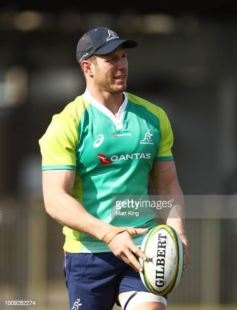 David Pocock looks on during a Wallabies training session at Moore Park on August 2, 2018 in Sydney, Australia.