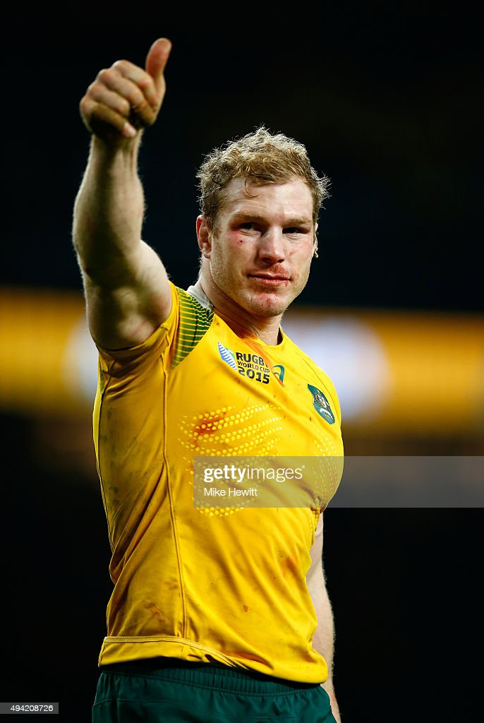 David Pocock of Australia celebrates by giving the thumbs up to the fans after winning the 2015 Rugby World Cup Semi Final match between Argentina and Australia at Twickenham Stadium on October 25, 2015 in London, United Kingdom.
