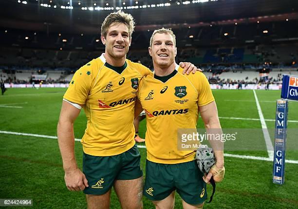 David Pocock of Australia celebrates with Kyle Godwin of Australia following the international match between France and Australia at Stade de France...