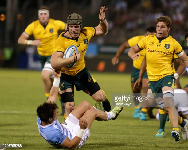 David Pocock of Australia is tackled by Gonzalo Bertranou of Argentina during a match between Argentina and Australia as part of The Rugby...