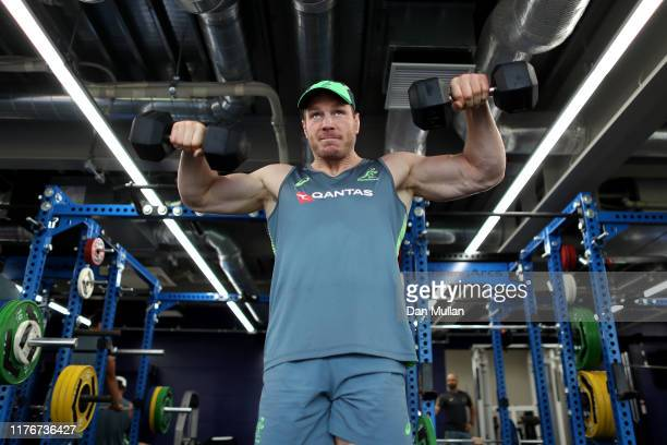 David Pocock of Australia trains during a gym session at Urayasu Park on September 24, 2019 in Tokyo, Japan.