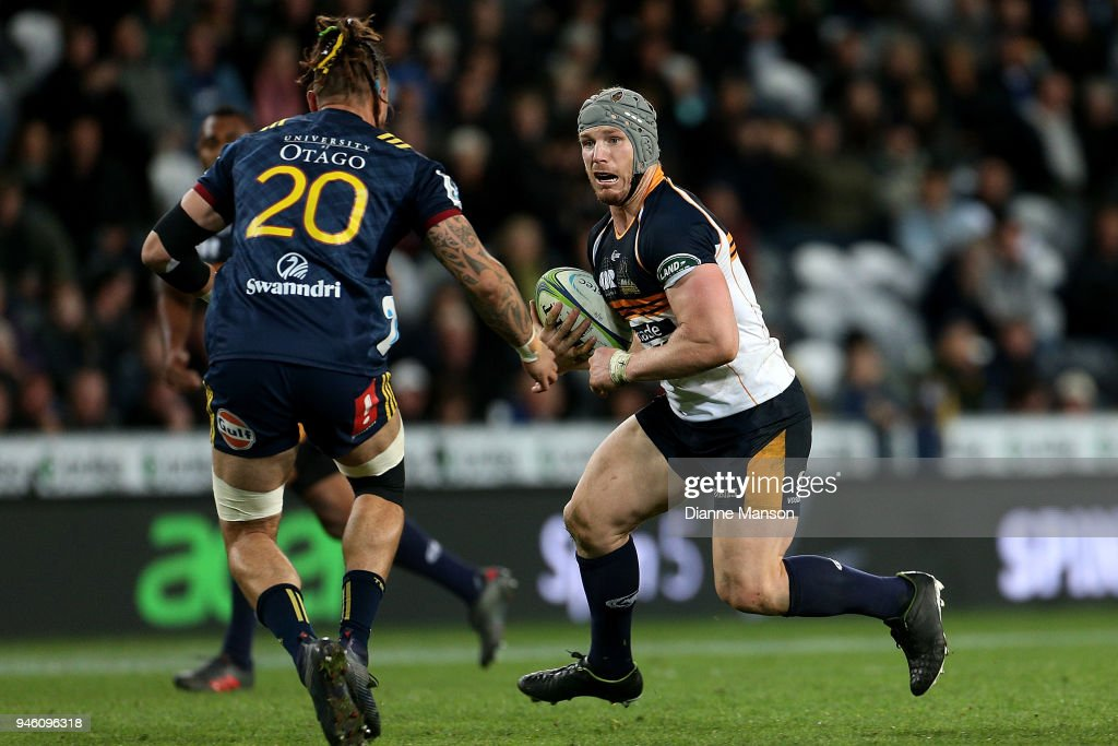 David Pocock of the Brumbies runs the ball during the round nine Super Rugby match between the Highlanders and the Brumbies at Forsyth Barr Stadium on April 14, 2018 in Dunedin, New Zealand.