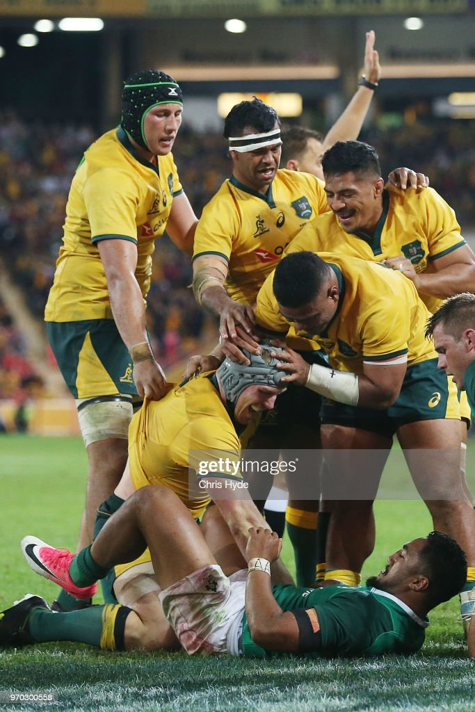 David Pocock of the Wallabies celebrates a try during the International Test match between the Australian Wallabies and Ireland at Suncorp Stadium on June 9, 2018 in Brisbane, Australia.