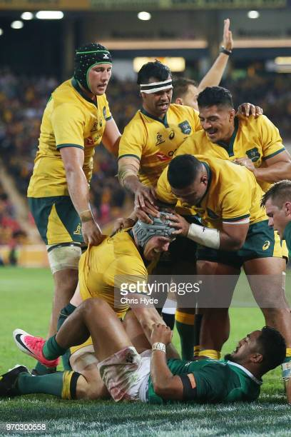 David Pocock of the Wallabies celebrates a try during the International Test match between the Australian Wallabies and Ireland at Suncorp Stadium on...