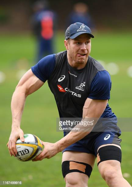 David Pocock of the Wallabies passes the ball during an Australian Wallabies media opportunity at Como Hotel at on August 12, 2019 in Melbourne,...