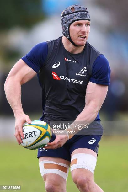 David Pocock of the Wallabies passes the ball during an Australian Wallabies training saession on June 12, 2018 in Melbourne, Australia.