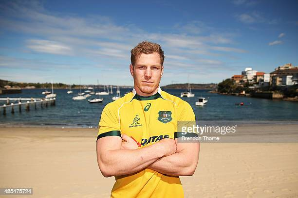 David Pocock of the Wallabies poses following an Australian Wallabies training session at Little Manly Beach on August 28, 2015 in Sydney, Australia.