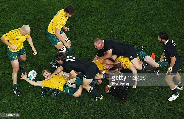 David Pocock of the Wallabies reaches for the ball during semi final two of the 2011 IRB Rugby World Cup between New Zealand and Australia at Eden...
