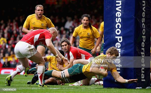 David Pocock of the Wallabies scores their first try during the Test match between Wales and the Australian Wallabies at Millennium Stadium on...
