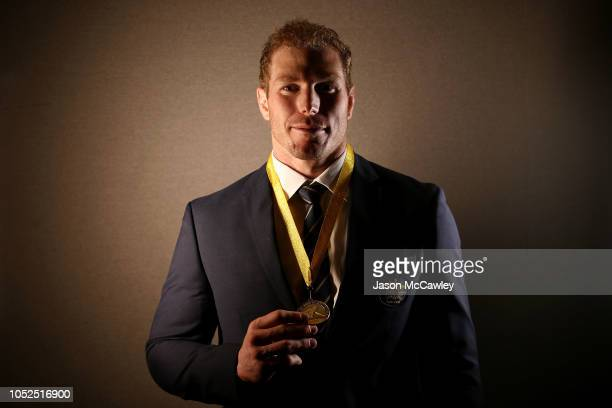 David Pocock poses after receiving the John Eales Medal during the 2018 Rugby Australia Awards at Royal Randwick Racecourse on October 19, 2018 in...