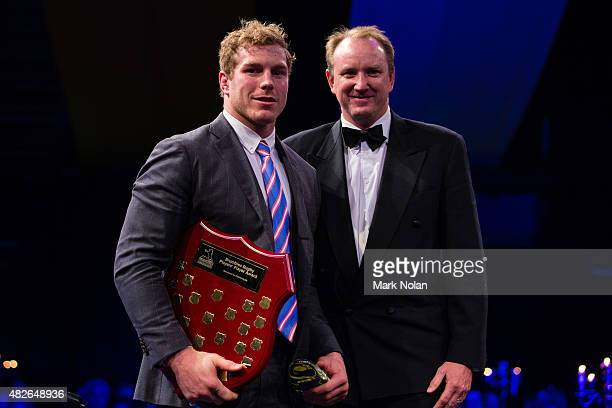 David Pocock recieves the players player award during the 2015 Brumby Presentation Dinner at the AIS on August 1, 2015 in Canberra, Australia.