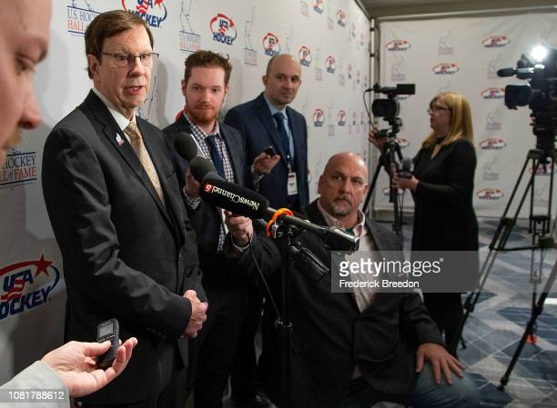 David Poile speaks to the media at the U.S. Hockey Hall Of Fame Induction on December 12, 2018 in Nashville, Tennessee.