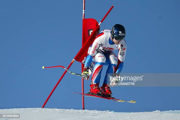 David Poisson during the men's downhill event of the 20042005 Audi FIS Alpine Ski World Cup