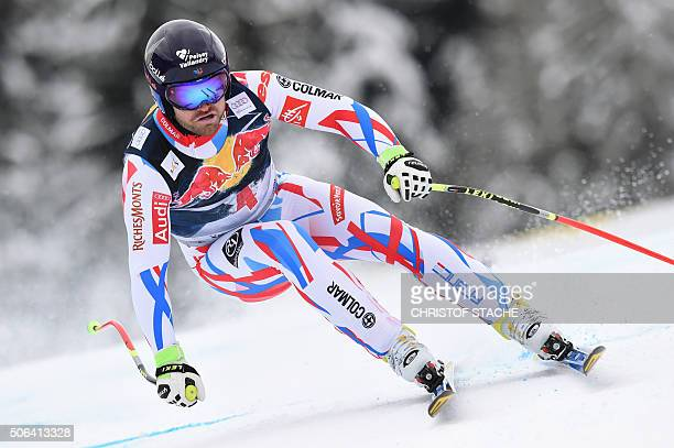 David Poisson from France competes during the Audi FIS Alpine Ski World Cup Men's Downhill on January 23 2016 in Kitzbuehel Austria / AFP / Christof...