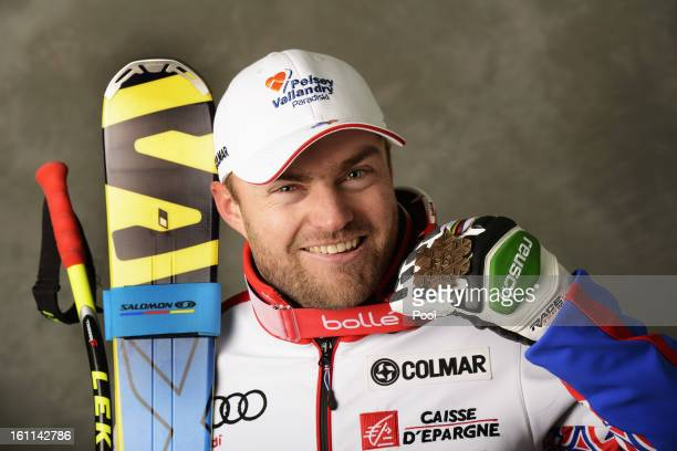 David Poisson of France celebrates with his bronze medal after finishing third in the Men's Downhill during the Alpine FIS Ski World Championships on...