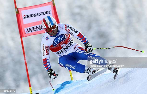 David Poisson of France competes during the Audi FIS Alpine Ski World Cup Men's Downhill training on January 16 2013 in Wengen Switzerland