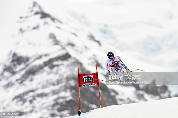 David Poisson of France competes during the Audi FIS Alpine Ski World Cup Men's Downhill Training on January 15 2015 in Wengen Switzerland