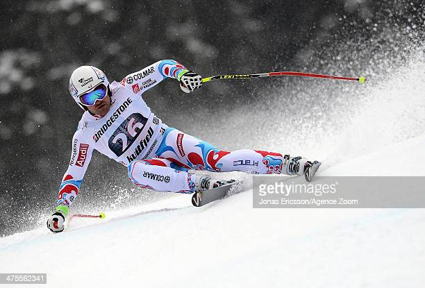 David Poisson of France competes during the Audi FIS Alpine Ski World Cup Men's Downhill on February 28 2014 in Kvitfjell Norway