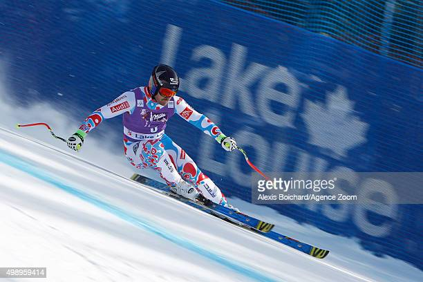 David Poisson of France competes during the Audi FIS Alpine Ski World Cup Men's Downhill Training on November 27 2015 in Lake Louise Canada