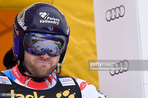 David Poisson of France competes during the Audi FIS Alpine Ski World Cup Men's Downhill Training on December 16 2015 in Val Gardena Italy